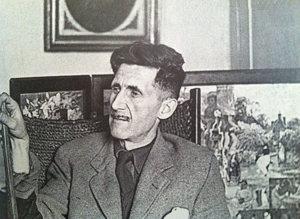 George Orwell in his living room contemplating being liberal