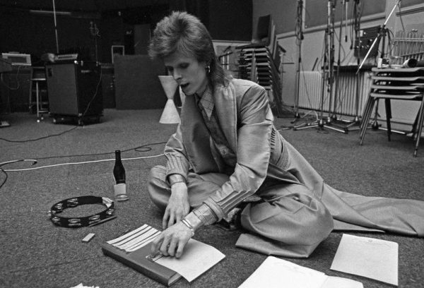David bowie writing by hand to create a new song