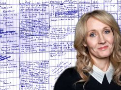 JL Rowling writing by hand in her apartment