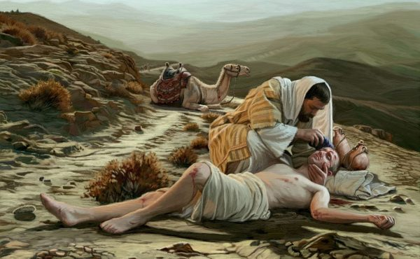 The Good Samaritan helping a beaten man.