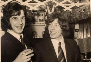 a pint of Guinness for Tristram Kent and Clifford Thurlow drinking and smoking in 1966