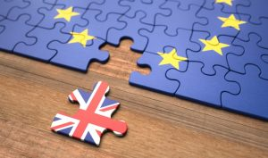 Jigsaw puzzle of Europe with Britain falling out