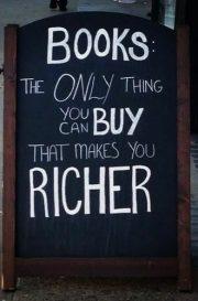 Sign saying books make you richer
