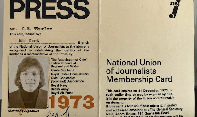 Clifford Thurlow's 1973 press card