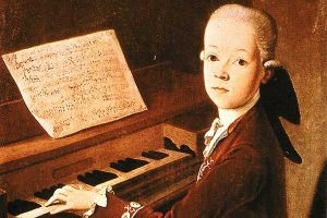 Child Mozart and the piano