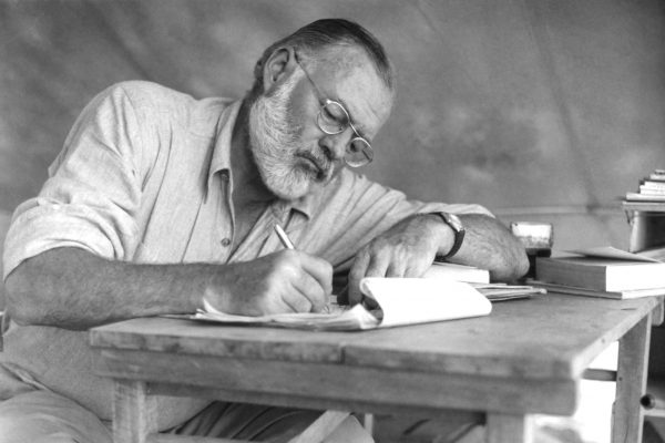 Picture show Ernest Hemingway writing by hand