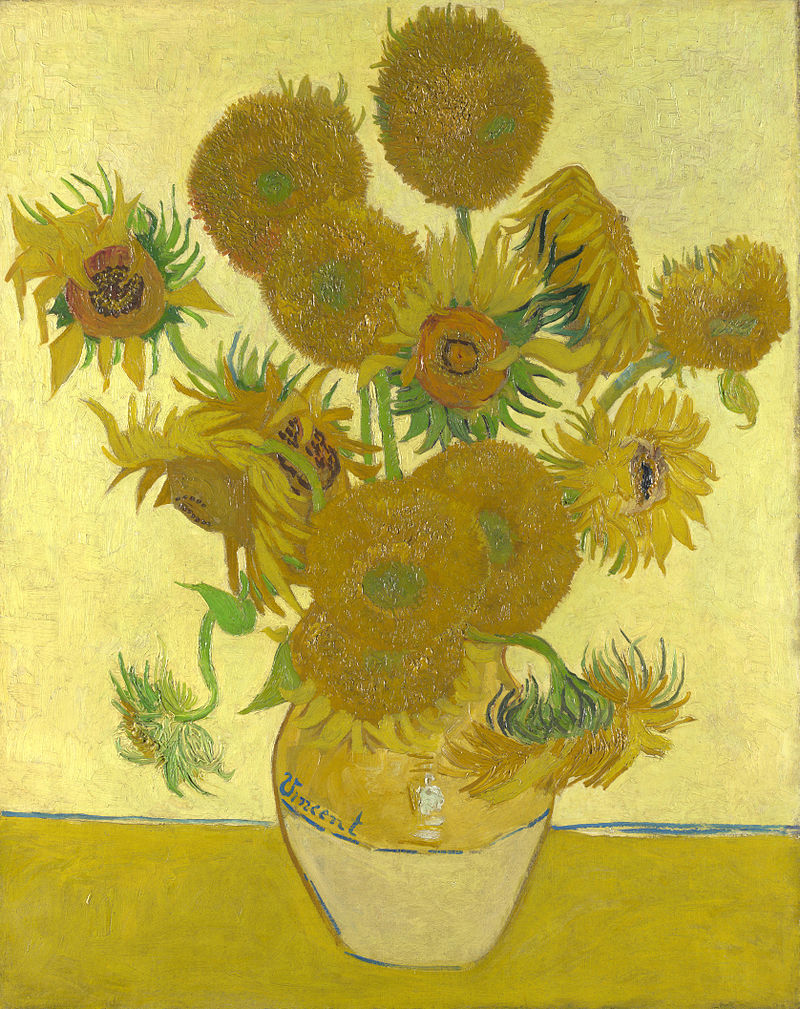 image shows Vincent van Gogh's painting of a vase of sunflowers