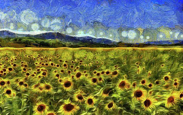 sunflowers painted by van-gogh