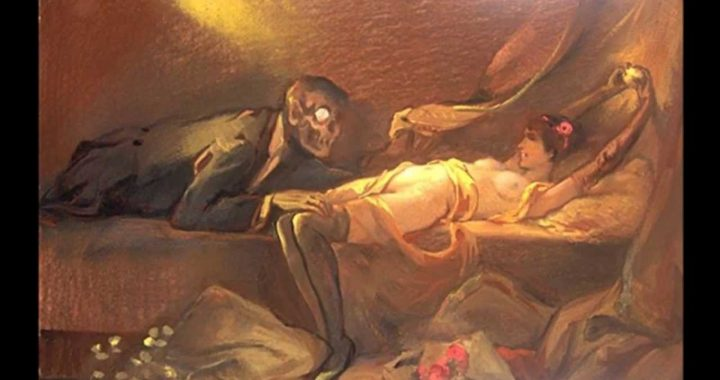 Death and the Maiden - devil creeps into woman's bed